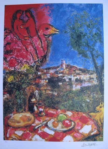 Chagall: Lovers Above City