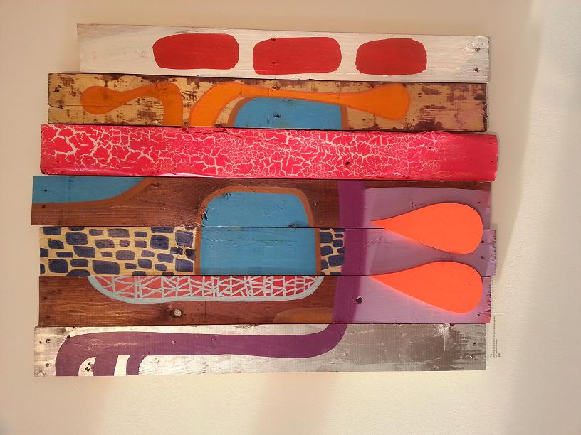 Day Acrylic,ink pens and spray paint on 7 panels of wood.