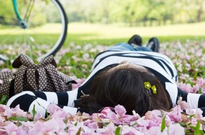 A picture of a woman lazing