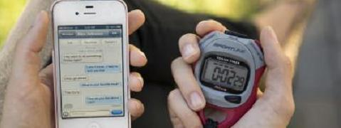 A picture of a phone and a stopwatch