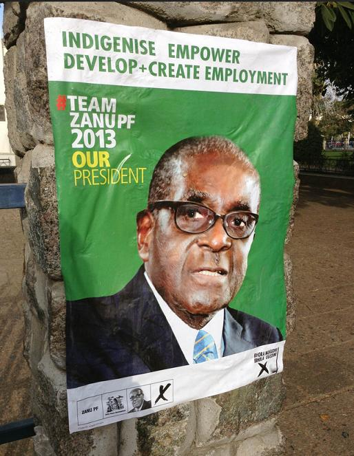 A picture of an election poster, Africa, Mugabe