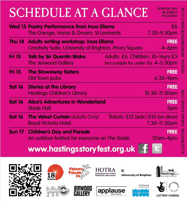 A schedule of events at Hastings Storytelling Festival