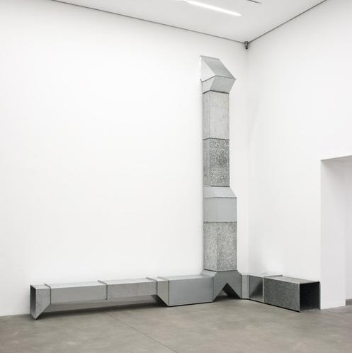 Charlotte Posenenske Vierkantrohre Serie D (Square Tubes Series D), 1967-2014 16 elements, hot-dip galvanised sheet steel Overall: 488 x 583 x 50 cm / 192 1/8 x 229 1/2 x 19 3/4 ins