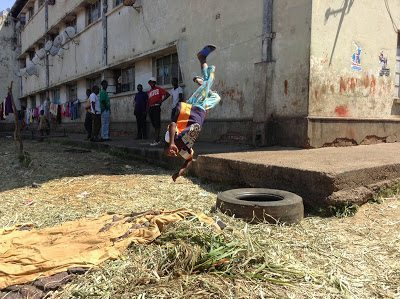 A picture of outdoor gymnastics in Mbare, Zimbabwe