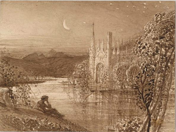 Samuel Palmer (1805-1881) The Haunted Stream, c. 1826 Brush and brown ink and brown ink wash on paper 92 x 123 mm The Morgan Library & Museum