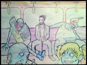A picture of zombies on the tube by Dan Booth