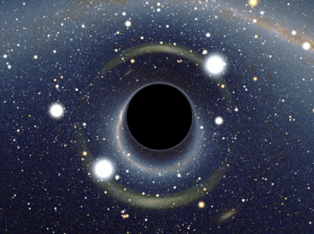 Simulated view of a black hole by Alain Riazuelo of the French National Research Agency, via Wikipedia.