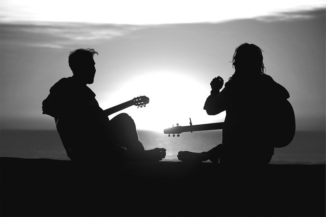 musicians and sunset