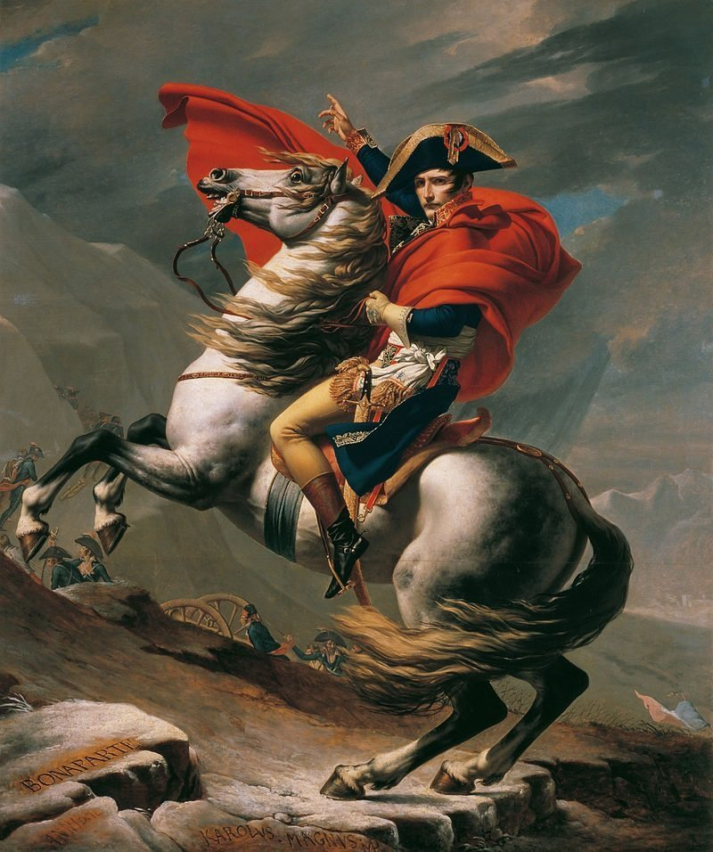 Napoleon Crossing the Alps, Jacques-Louis David 1801 Oil on canvas
