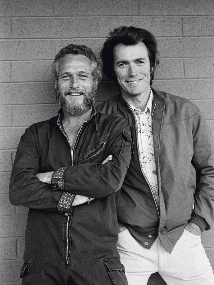 American screen stars Paul Newman and Clint Eastwood meet by chance outside a motel in Tucson, Arizona, 1972.