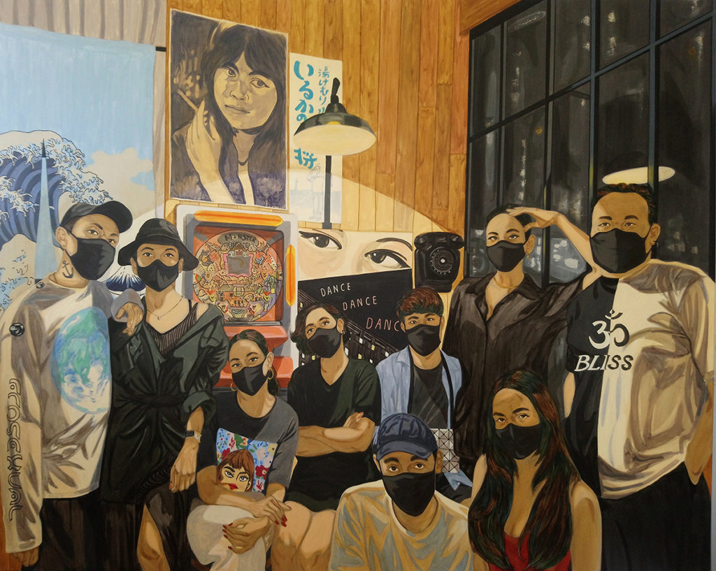 painting of a group in face masks