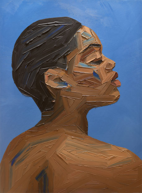 portrait painting of a woman against blue background