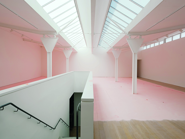 room filled with pink powder