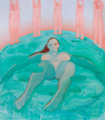 painting of a woman in a bath