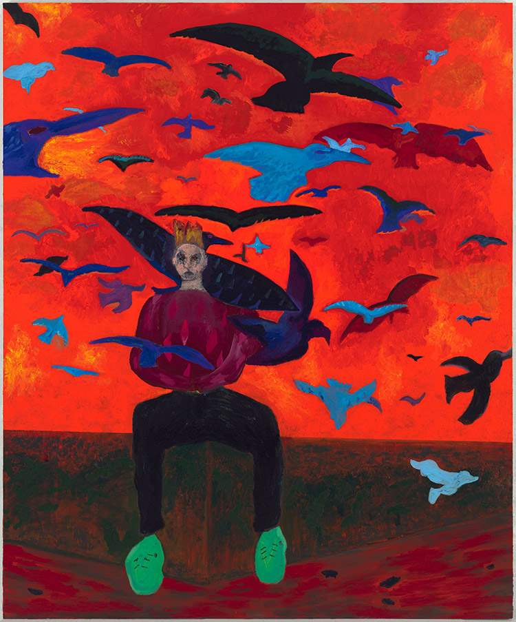 painting of a man surrounded by bats