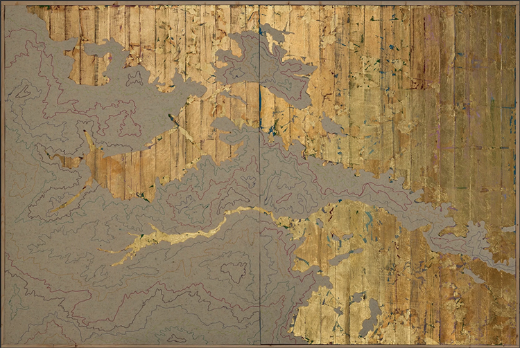 artwork depicting a map with gold leaf